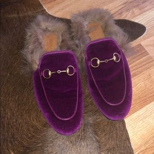 Gucci velvet slippers Excellent condition